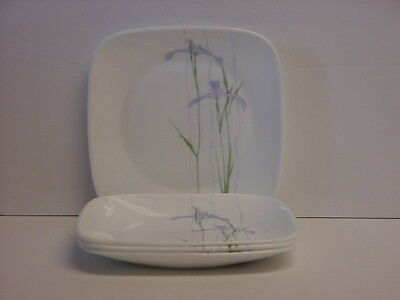 "4 Corelle Shadow Iris Square Dessert Plates Bread/Butter 6-1/2"" Made in USA New"