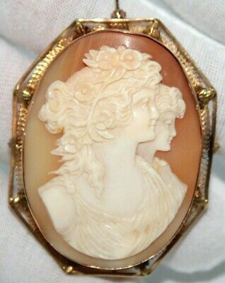 Vintage 14K Yellow Gold Double Face Woman Cameo Pin Brooch Pendant. 53Mm X 42Mm