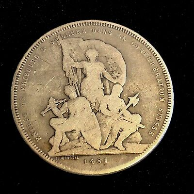 SWITZERLAND 5 Francs 1881 - Silver - Shooting Festival - RARE COIN
