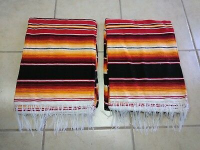 TWO PIECE SERAPE SET ,5' X 7',Mexican Blanket,HOT ROD, Covers, XXL, RED & YELLOW