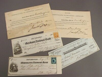 1870s & 1880s NEW BEDFORD BANK CHECKS and SHIPPING ARTICLE CERTS., WHALING