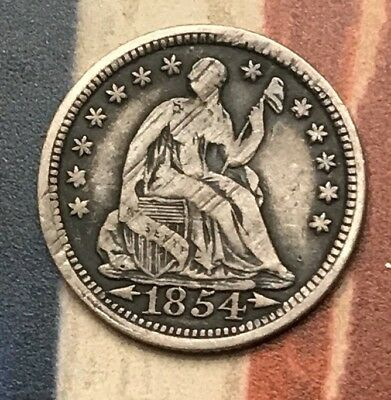 1854 5C Seated Liberty Half Dime 90% Silver Vintage US Coin #CM53 Sharp Appeal