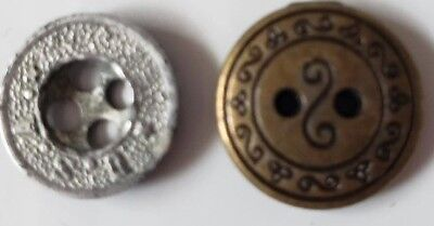 Buttons Vintage Antique Metal  Two Small Buttons