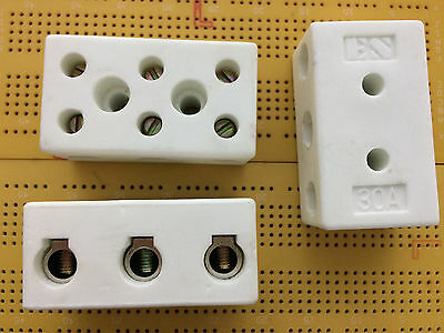 3 Way 30A 450V Ceramic Terminal Block Connector Steatite High Temperature