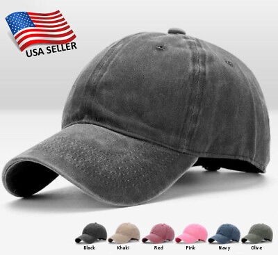 Cotton Baseball Cap Adjustable Hat Washed Style Plain Blank Visor Dad Hats Caps