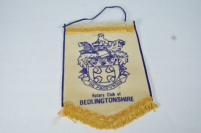 Vintage Rotary Club Banner Bedlingtonshire UK Flag Pennant Collectible Display