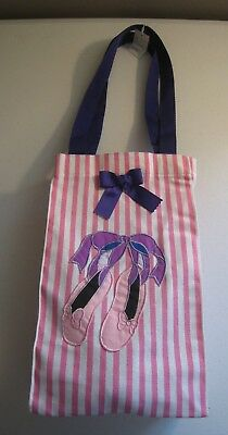 BALLET DANCER SHOE TOTE - LUNCH BAG Fabric Girl Child Dance Pink Purple Bow