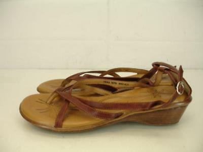 639a15738203e0 Born Womens 10 M Brown Leather Wedge Heels Sandals Thong Gladiator Strappy  Pumps