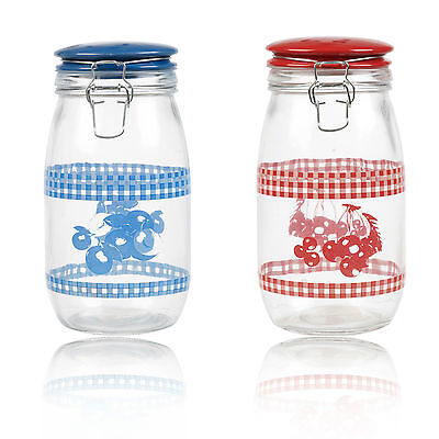 Large Glass Storage Jar With Ceramic Lid Air Tight Seal Metal Clamp 1.2L Retro