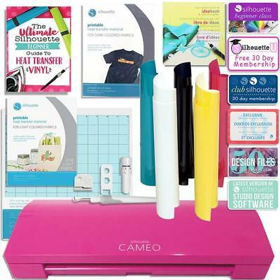 Silhouette Pink Cameo 3 Bluetooth TShirt Starter Bundle w/ Guide, HTV Kit & More