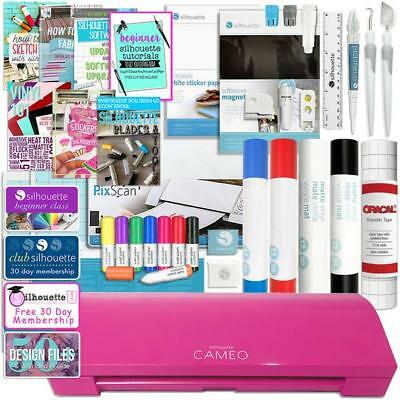 Silhouette Pink Cameo 3 Bluetooth Large Starter Bundle, Vinyl Rolls, Tools &More