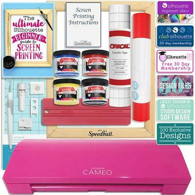 Silhouette Pink Cameo 3 Screen Print T-Shirt Starter Bundle w/ Speedball Kit