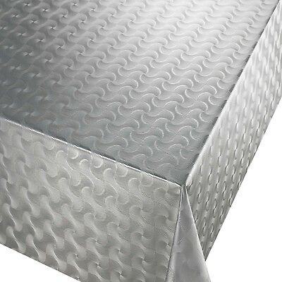 Pvc Table Cloth Pulse Silver Geo Waves Grey Embossed Metallic Effect Wipe Able
