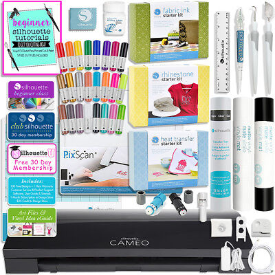 Silhouette Black Cameo 3 Bluetooth with Starter Kits Bundle