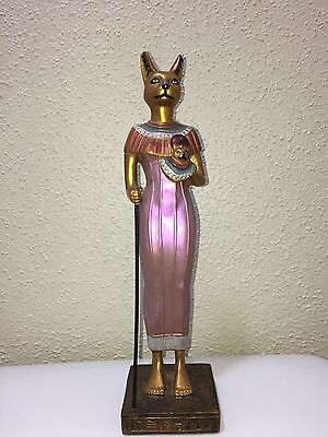 Large UNIQUE Antique carved Egyptian Statue Ancient BASTET Cat Goddess Figurin
