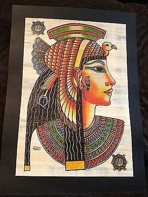 Rare Signed Ancient Egyptian Queen Cleopatra Handmade Painting on Papyrus.