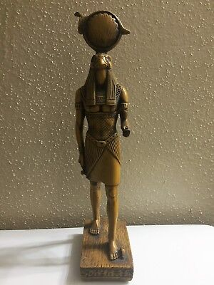 Ancient Egyptian God Ra with a hawk Head Hand carved Statue Collect From Egypt