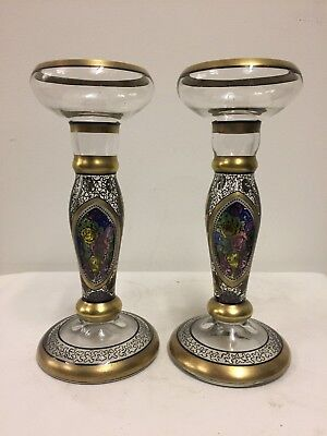 Pair of Antique Bohemian Glass and Enamel Art Nouveau Candlesticks, circa 1890