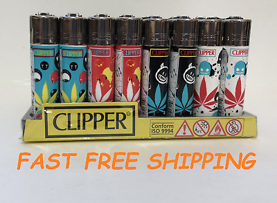 48 Count Full Size CANNABIS LEAF Style Refillable CLIPPER Lighter Assorted Color