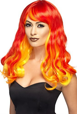 Ombre Devil Flame Wig, Red & Orange  AC NEW