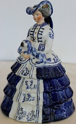 Old Staffordshire China William Kent Lady Jar With Spaniel