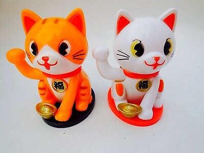 Lots 2 Lucky Cat Waving Solar Powered Chinese Oriental Fortune