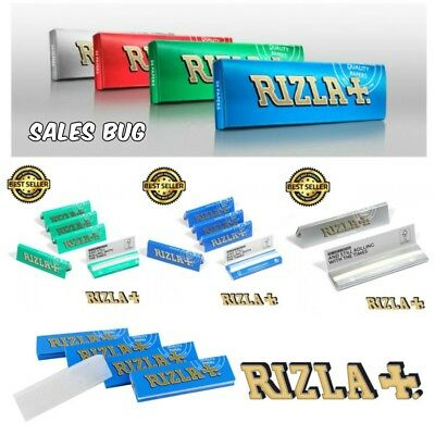 RIZLA Regular Genuine GREEN SILVER BLUE Cigarette Rolling Papers ORIGINAL