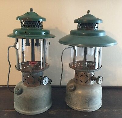 Old Vtg Coleman Green Lantern Sunshine Of The Night Camping Light Set Of 2