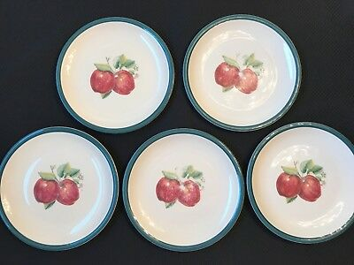 "Casuals by China Pearl Apple design 10 1/4"" Dinner plates set of 5 replacements"