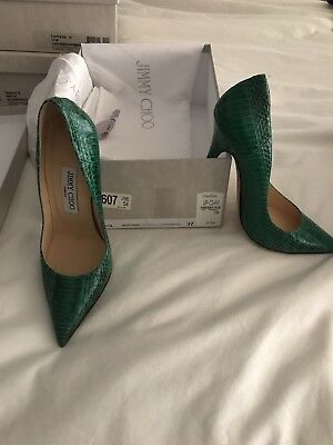 JIMMY CHOO 37 Box Bag Green Amazing Heel