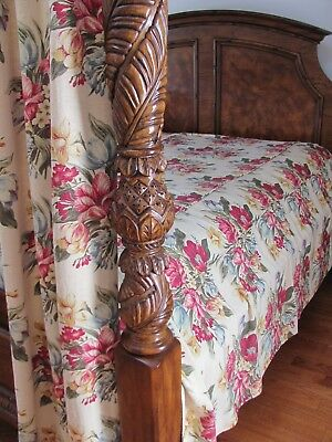 13Pc VTG 30s PARROT TULIP & DAFFODIL BOUQUET Rayon BARKCLOTH-Era BED-DRAPERY SET