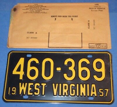 1957 West Virginia License Plates Tag  460-369 *Gorgeous* with Original sleeve