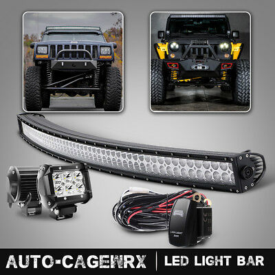 50 inch Curved LED Light Bar + 2x 4in LED Fog Lights Pods Truck SUV ATV 50""