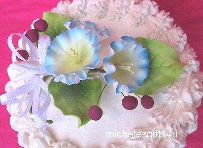 Gum Paste Sugar Morning Glories & Leaves & Berries Cake Decorating Flowers