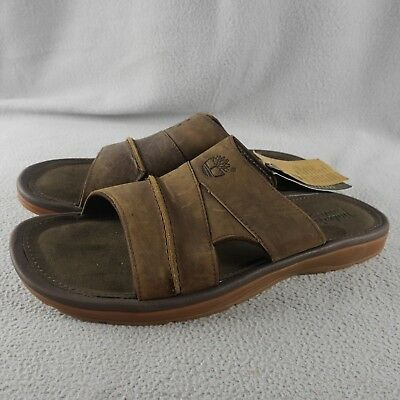 56d1b9c99da6 NWT Timberland Earthkeepers Brown Distressed Leather Slide Sandals Men ANB