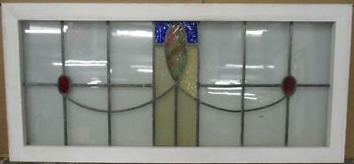 "OLD ENGLISH LEADED STAINED GLASS WINDOW TRANSOM Gorgeous Sweep 38.25"" x 18"""