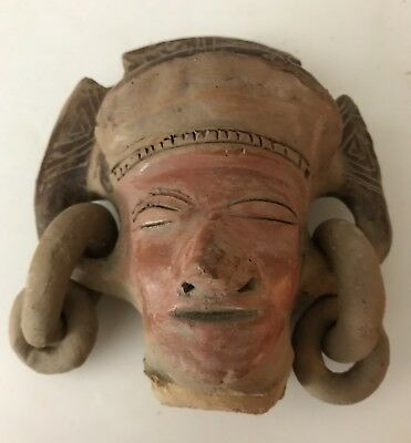 """Vintage Mexican  Mayan Aztec Head Whistle Figure Folklore  Clay Art 5.5"""" Tall"""