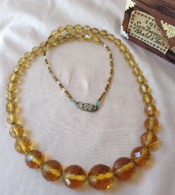 Vintage Art Deco Victorian Amber Citrine Faceted Crystal Glass Bead Necklace 22'