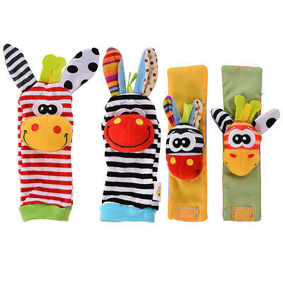 4pcs Cute Animal Infant Baby Kids Hand Wrist Bell Foot Sock Rattles Soft Toy US