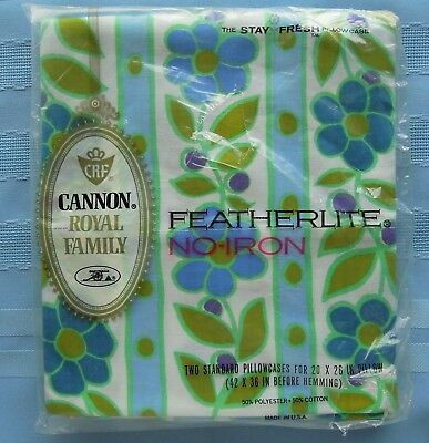 Cannon Royal Family Featherlite 1 Pr. Standard Pillowcases Blue Green Floral NIP