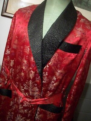 Oriental Men's Red Chinese Brocade Scarlet Satin Embroidered Robe Sz (L)