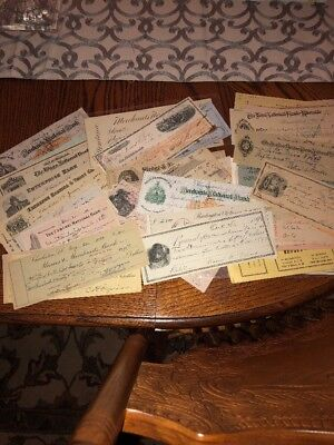 Huge Lot Railroad New York Bank Montana Business Vintage Checks 19Th Century