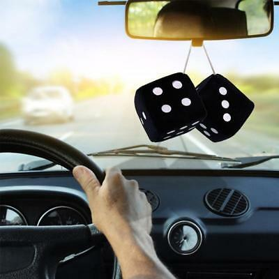 Black Car Soft Spotty Furry Fluffy Hanging Mirror Dice Set Novetly Accessory