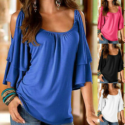 Plus Size Women Blouse Cold Shoulder Lady Summer T Shirt Loose Casual Tops Tee L