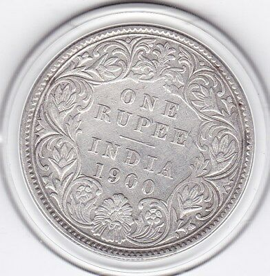 1900  One  Rupee  India - British  Silver Coin