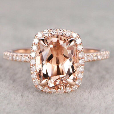 Gorgeous Rings for Women Wedding Ring Rose Gold Filled Jewelry Crystal Size 6-10