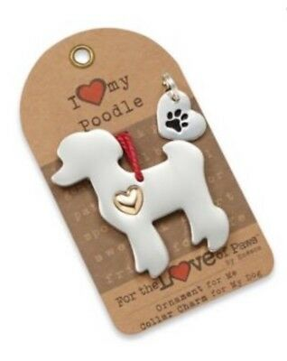 I Love My Poodle Dog Ornament & Collar Charm For The Love Of Paws NEW Enesco