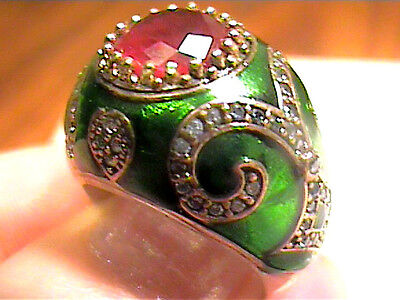 Vintage Antique Garnet Silver Ring 8  Medieval Sapphire Sterling 925  Cocktail