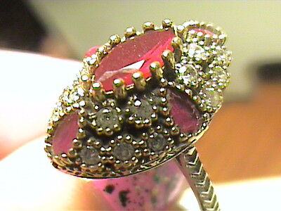Vintage Antique Garnet Silver Ring 9  Medieval Sapphire Sterling 925 Cocktail