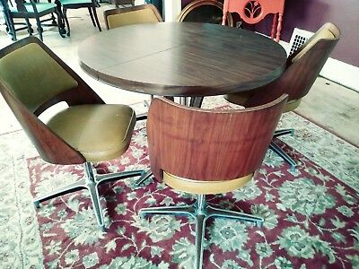 Mid Century Modern B. Brody Danish Walnut Bentwood Barrel Swivel Dining set